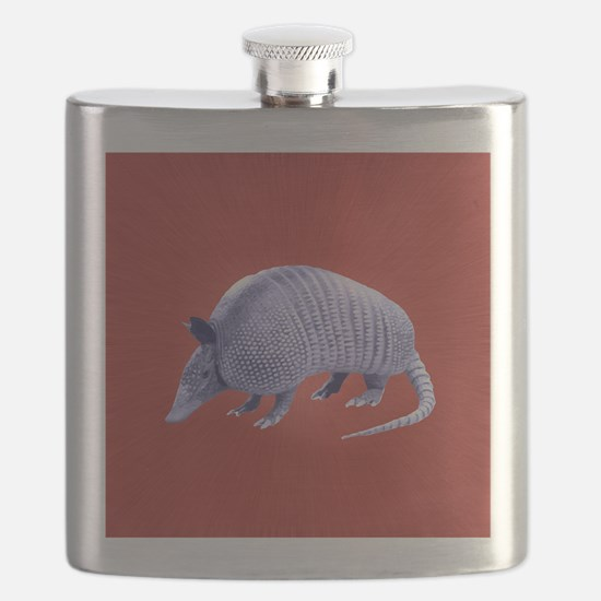 Purple Armadillo on Red Flask