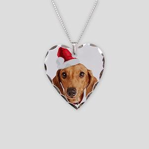 Dachshund_Xmas_face002 Necklace Heart Charm
