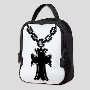 Rosary (silver/black) Neoprene Lunch Bag