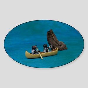 Loons in Canoe Sticker (Oval)