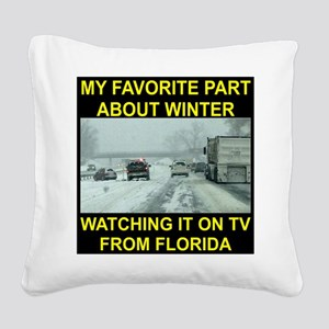 Watching It On TV In FLA Square Canvas Pillow