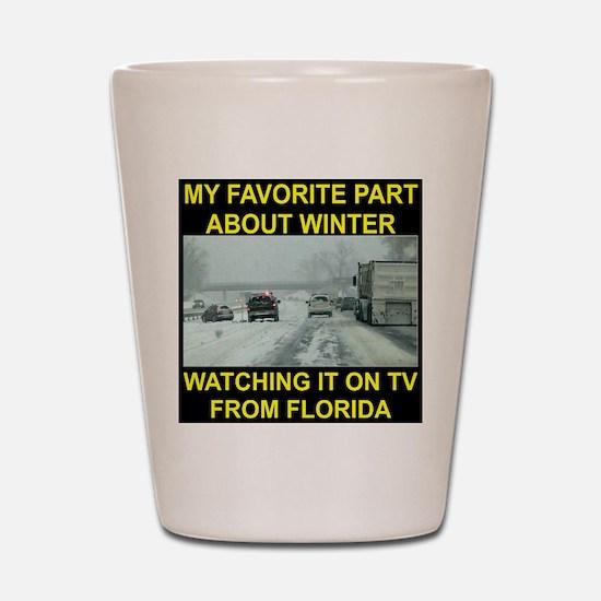 Watching It On TV In FLA Shot Glass