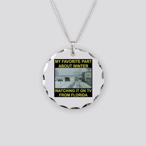 Watching It On TV In FLA Necklace Circle Charm