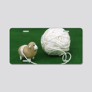 Sheep Yarn Aluminum License Plate