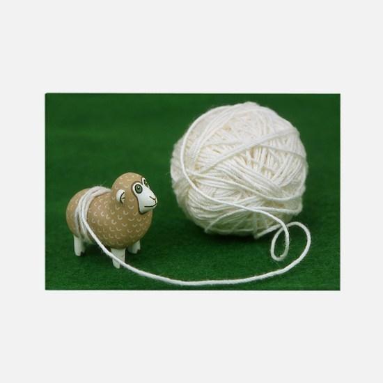Sheep Yarn Rectangle Magnet