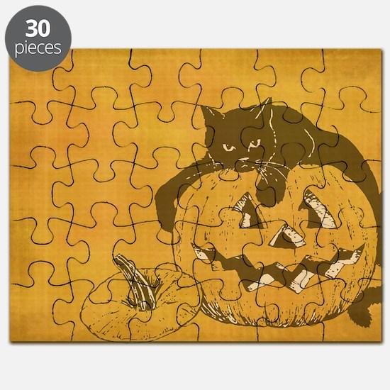 black cat and jack o lantern Puzzle