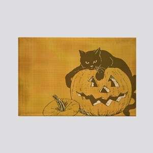 black cat and jack o lantern Rectangle Magnet