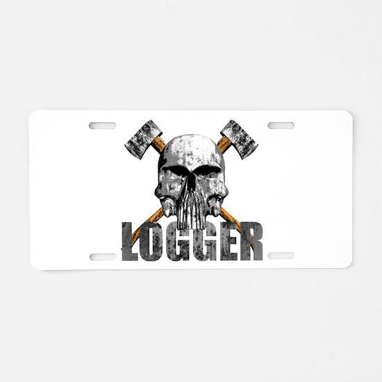 Logger Skull Aluminum License Plate