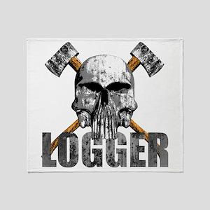 Logger Skull Throw Blanket