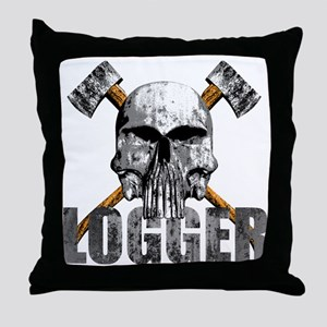 Logger Skull Throw Pillow