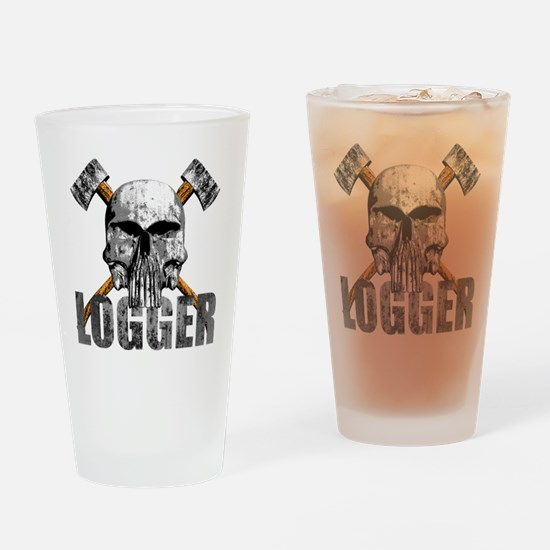 Logger Skull Drinking Glass