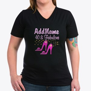 40TH PINK SHOES Women's V-Neck Dark T-Shirt