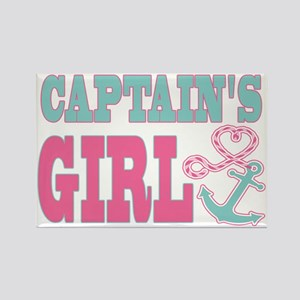 Captains Girl Boat Anchor and Hea Rectangle Magnet
