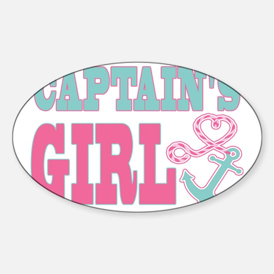 Captains Girl Boat Anchor and Heart Sticker (Oval)