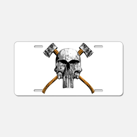 Skull and Axes Aluminum License Plate