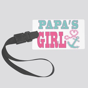Papas Girl Boat Anchor and Heart Large Luggage Tag