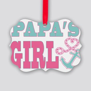 Papas Girl Boat Anchor and Heart Picture Ornament