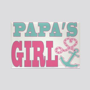 Papas Girl Boat Anchor and Heart Rectangle Magnet