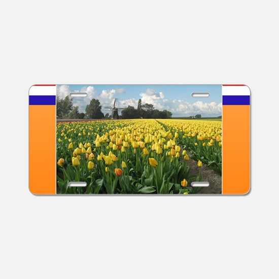 Holland Windmill and Tulips Aluminum License Plate