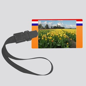Holland Windmill and Tulips Large Luggage Tag