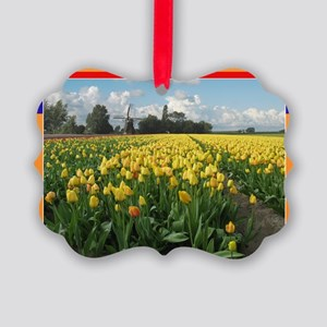 Holland Windmill and Tulips Picture Ornament