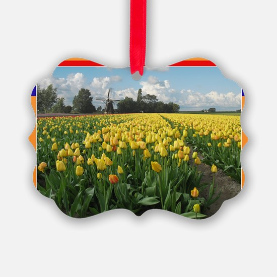Holland Windmill and Tulips Ornament