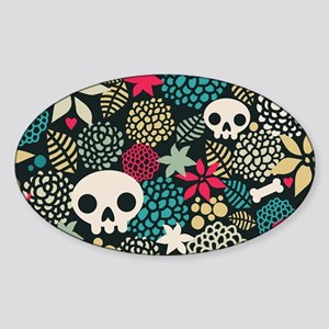 Skulls and Flowers Sticker (Oval)