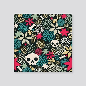 "Skulls and Flowers Square Sticker 3"" x 3"""