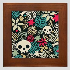 Skulls and Flowers Framed Tile