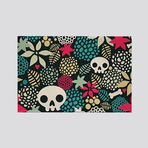 Skulls and Flowers Rectangle Magnet