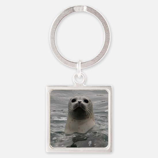 Harbor Seal Square Keychain