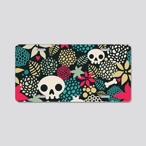 Skulls and Flowers Aluminum License Plate