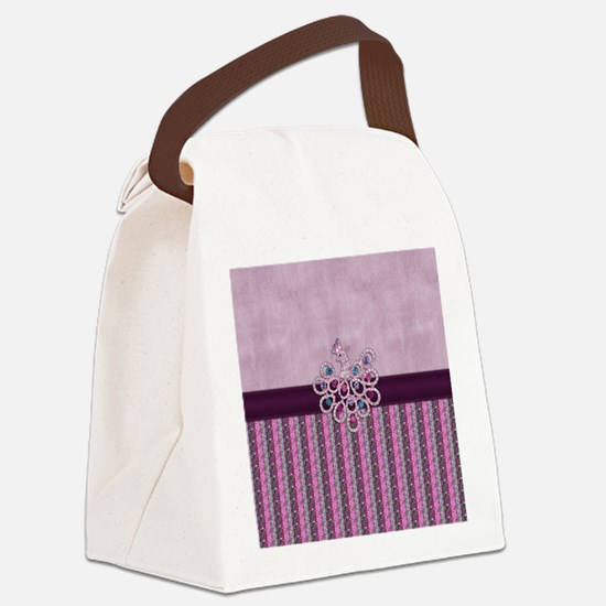 Elegant Peacock Jewel on Pink Canvas Lunch Bag