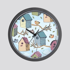 Cute Birdhouses Wall Clock