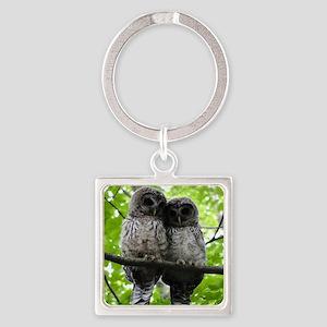 Cuddling Owls Square Keychain