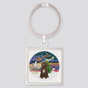 R-XmasMagic-PWD-brown sit Square Keychain