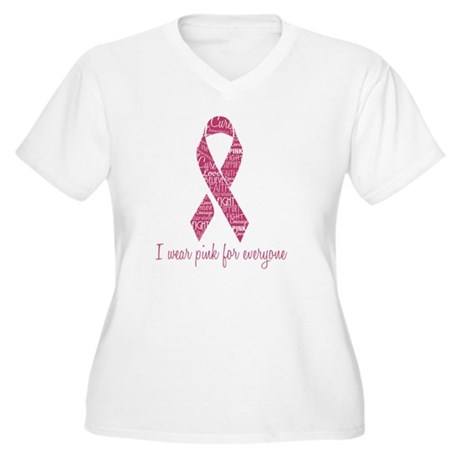 Breast Cancer Awa Women's Plus Size V-Neck T-Shirt