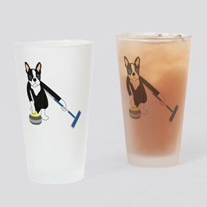 Boston Terrier Olympic Curling Drinking Glass