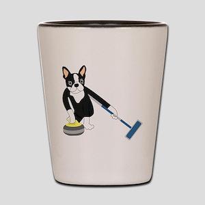 Boston Terrier Olympic Curling Shot Glass