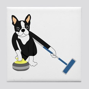 Boston Terrier Olympic Curling Tile Coaster