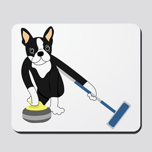 Boston Terrier Olympic Curling Mousepad