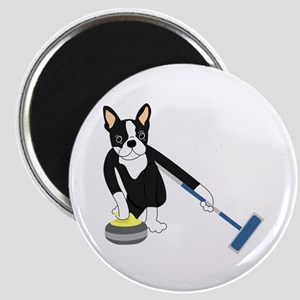 Boston Terrier Olympic Curling Magnet