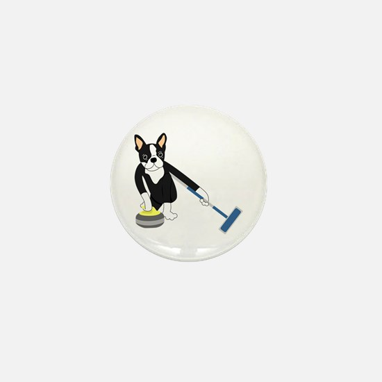 Boston Terrier Olympic Curling Mini Button