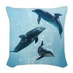 Dolphins in the Sea Woven Throw Pillow