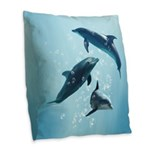 Dolphins in the Sea Burlap Throw Pillow