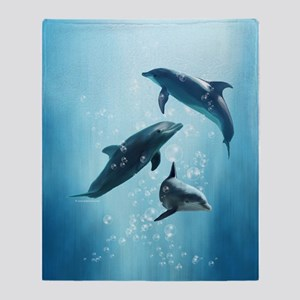 Dolphins in the Sea Throw Blanket