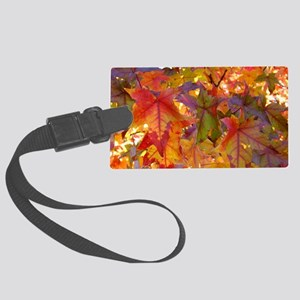 Autumn Leaves 97M Red Colorful F Large Luggage Tag