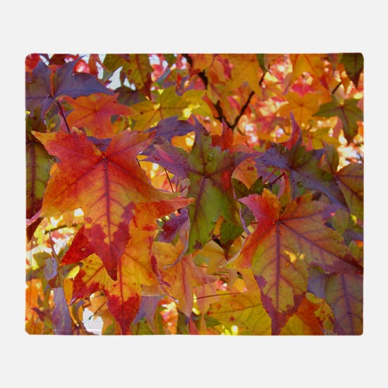 Autumn Leaves 97M Red Colorful Fall  Throw Blanket