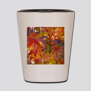 Autumn Leaves 97M Red Colorful Fall Tre Shot Glass