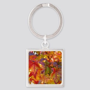 Autumn Leaves 97M Red Colorful Fal Square Keychain
